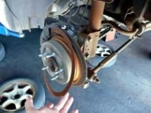 Customer had requested a brake check. Left rear brake rotor almost non-existent.