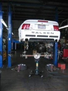 Replacing a faulty rear differential assembly on a Saleen Mustang
