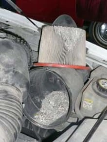 Air filter was found to be severely restricted not allowing engine to breath. Fortunately the debris appeared to not have made it past the air filter and into the engine avoiding a catastrophic event.